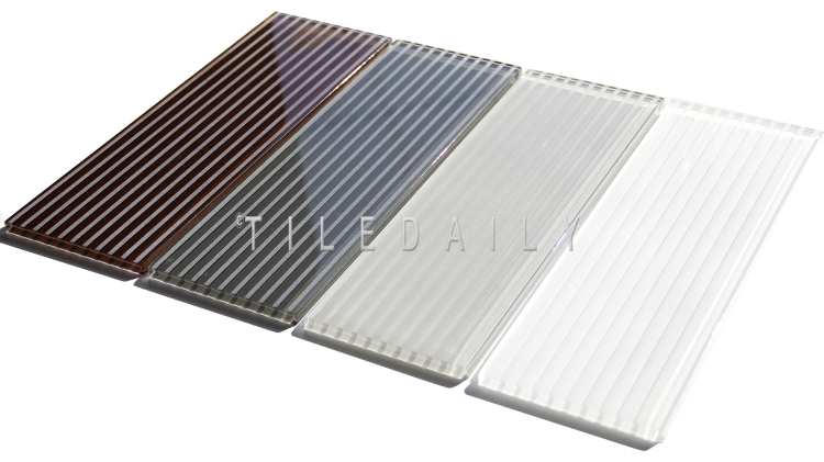 4x12 Striped Subway Glass Tile available in 4 Colors