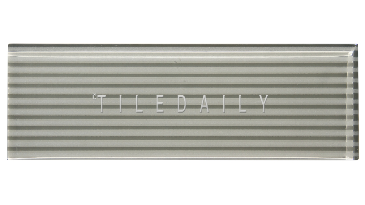Light Grey, Striped Subway Glass Tile - GM0132LGY