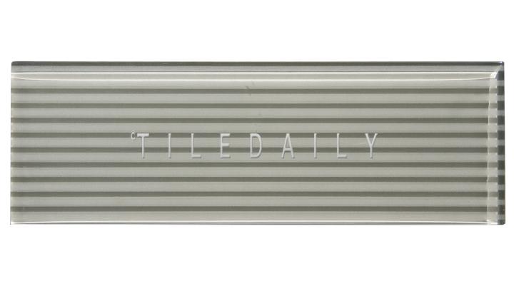 Light Grey, Striped Subway Glass Tile - GM0132LGY