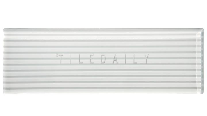 White Striped Subway Glass Tile - GM0132WE  - 4x12