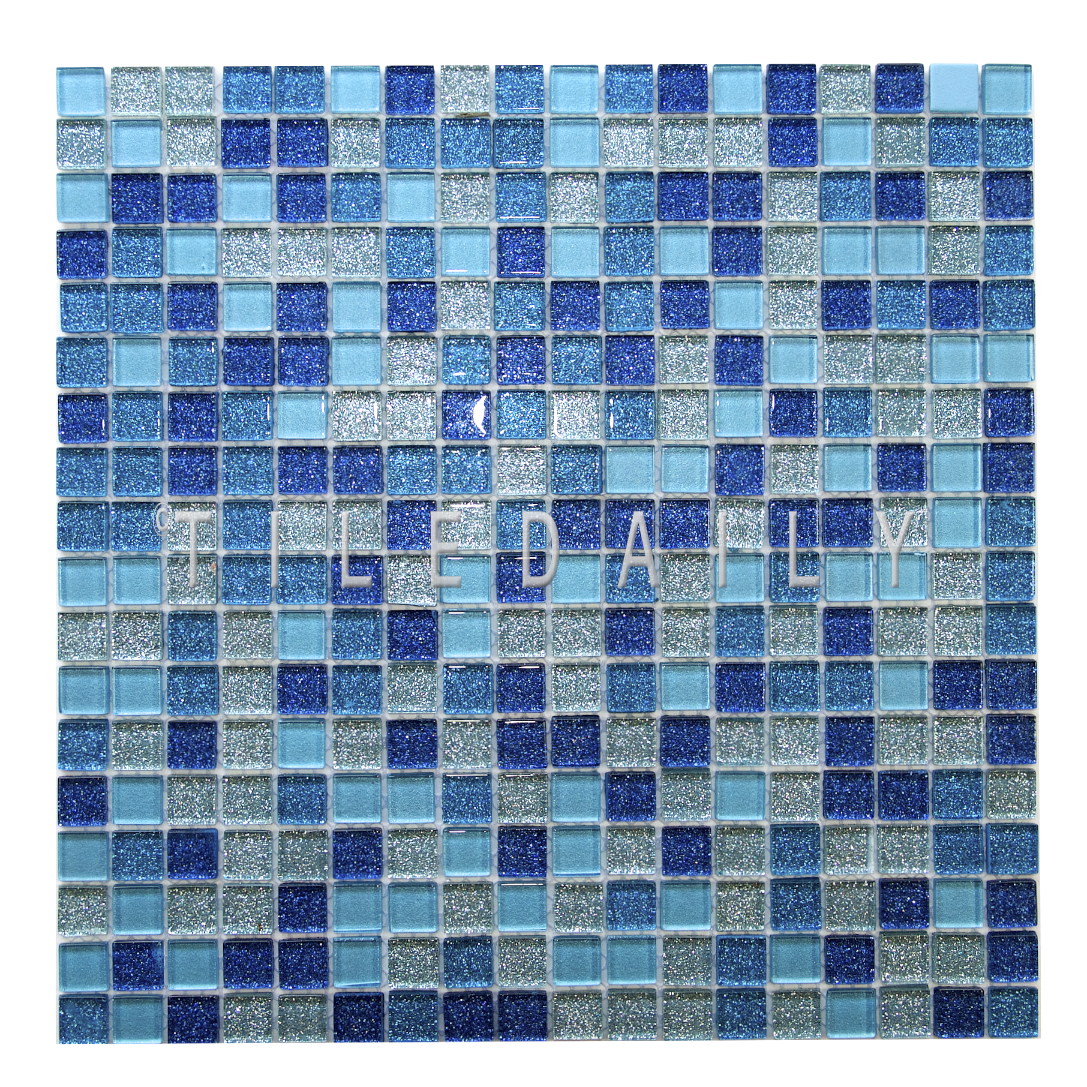 GM0133 - Glitter Glass Mosaic, Mix Blue