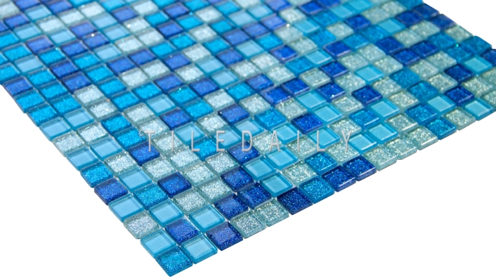 Glitter Glass Mosaic, Mix Blue