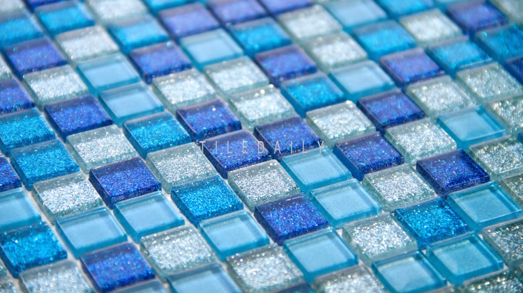GM0133 - Mix Blue Glitter Glass Mosaic Tile