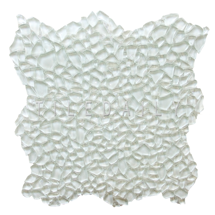 GM0093WE - White Jagged Crystal Glass Mosaic