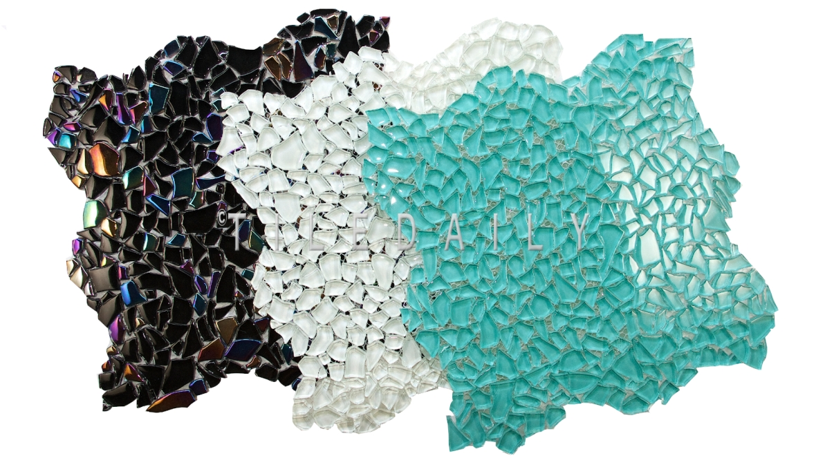 Jagged Crystal Glass Mosaic, Black, White, Turquoise Blue