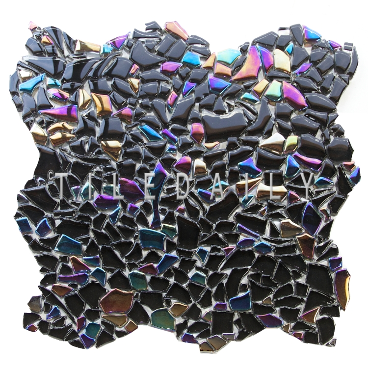 GM0093BK - Iridescent Black Jagged Crystal Glass Mosaic
