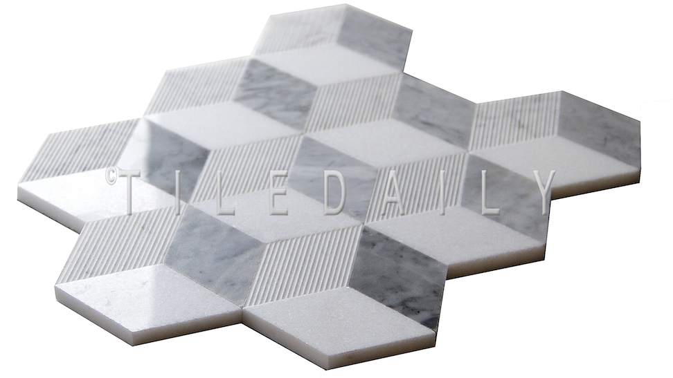 Cube Illusion Marble Mosaic Tiledaily