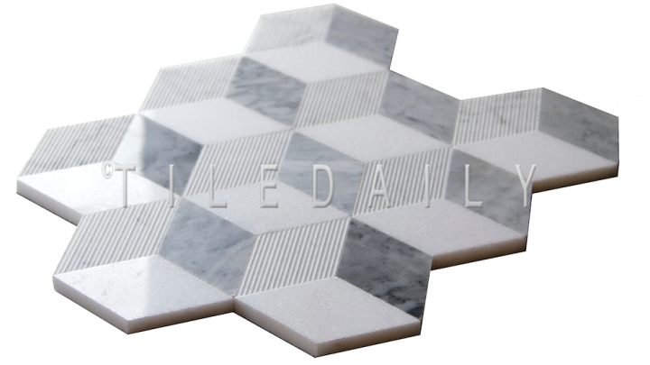 Cube Illusion Marble Mosaic