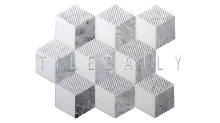 NS0079 - NS0079 - Cube Illusion Marble Mosaic, Mix Grey