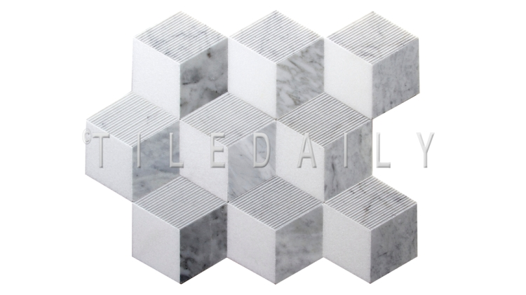 NS0079 - NS0079 - Cube Illusion Marble Mosaic, Mix Grey