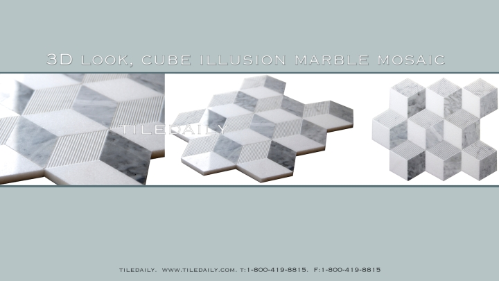 NS0079 - Cube Illusion Marble Mosaic, Mix Grey