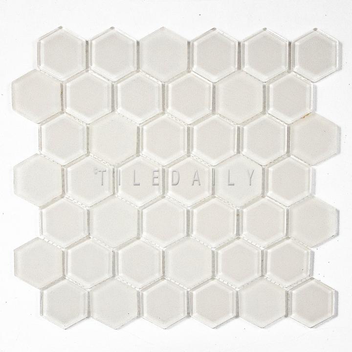 GM0134OW - 2 Hexagon Glass Mosaic, Off White
