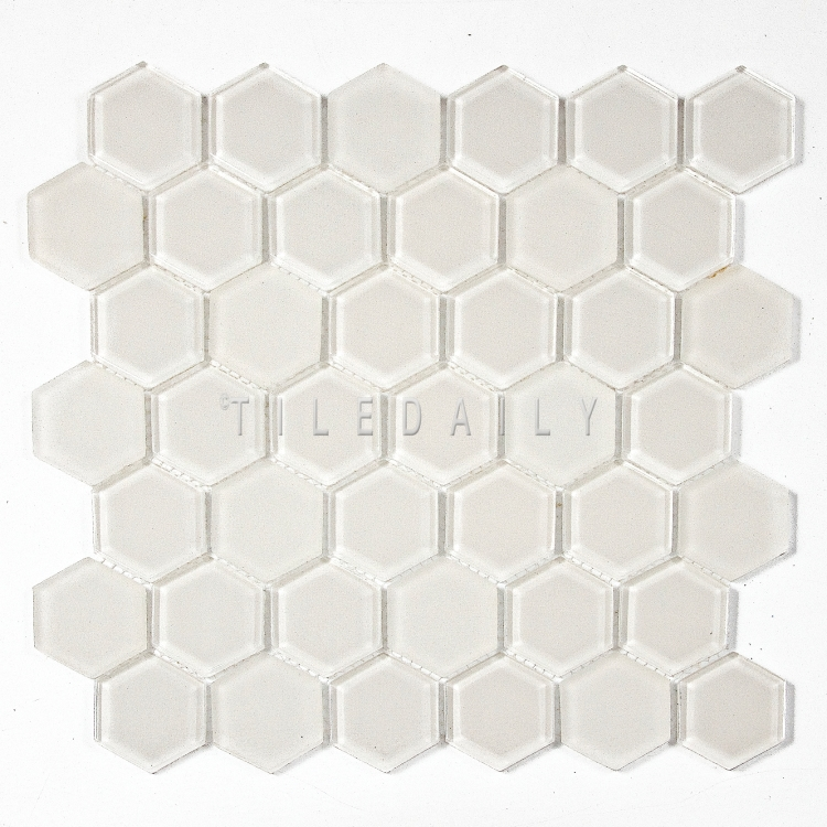 GM0134OW - 2 Hexagon Glass Mosaic, Off White