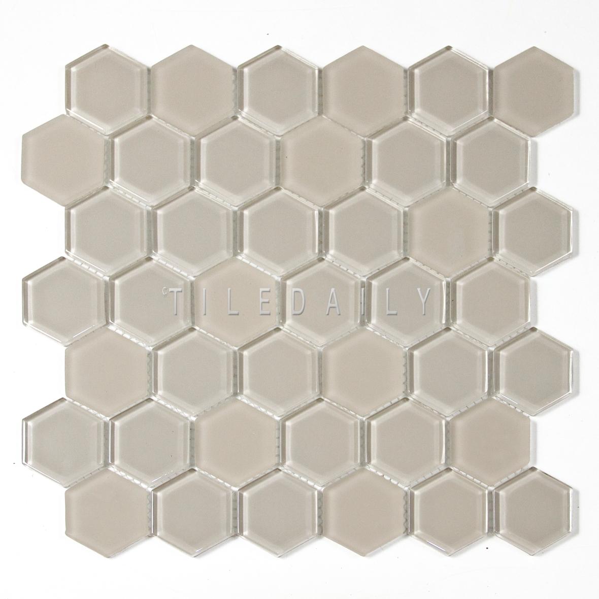 GM013LBG - 2 Hexagon Glass Mosaic, Sand