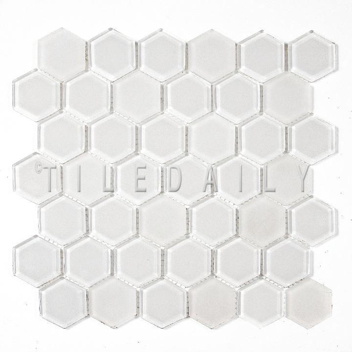 GM0134WE - 2 Hexagon Glass Mosaic, White