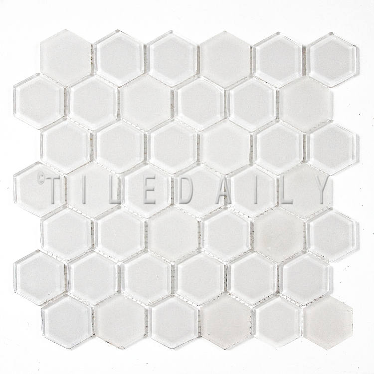 GM0134WE - 2 Hexagon Glass Mosaic, White