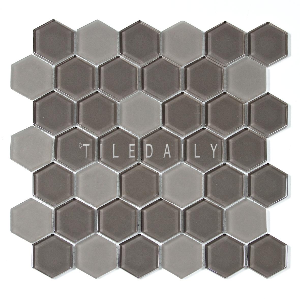 """GM0134TE - 2"""" Hexagon Glass Mosaic, Taupe"""