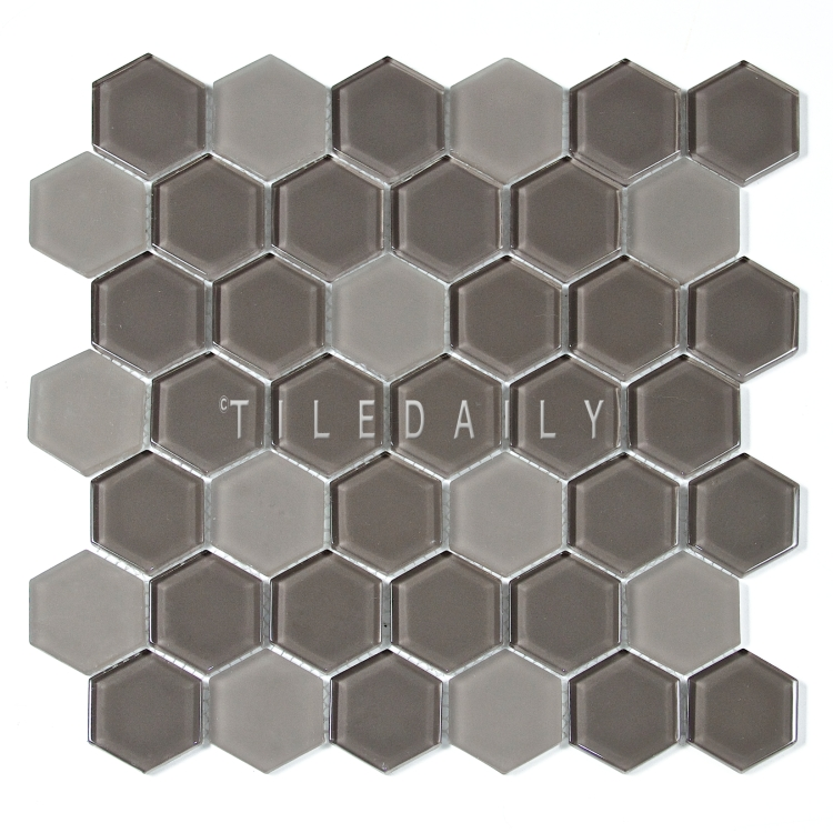 "GM0134TE - 2"" Hexagon Glass Mosaic, Taupe"