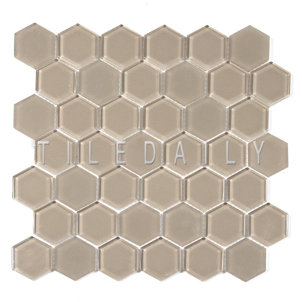 GM0134BG - 2 Hexagon Glass Mosaic, Beige