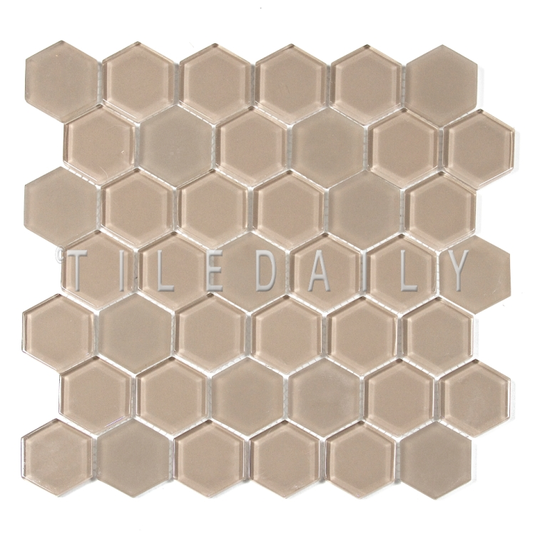 GM0134BG - 2 Hexagon Glass Mosaic, Beige