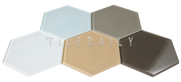 """GM0135 - 6"""" Large Hex Glass Tile, 5 Colors"""