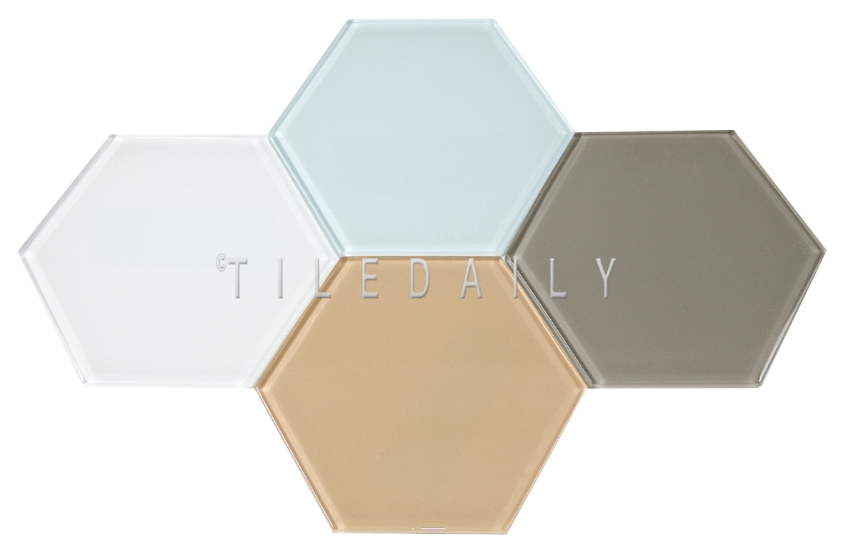 "GM0135 - 6"" Large Hexagon Glass Tile, 5 Colors"