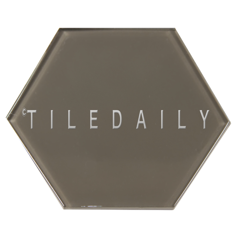 "GM0135TE - 6"" Large Hexagon Glass Tile, Taupe"