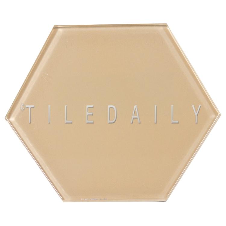 Beige Mode Hexagon Glass Tile, TileDaily
