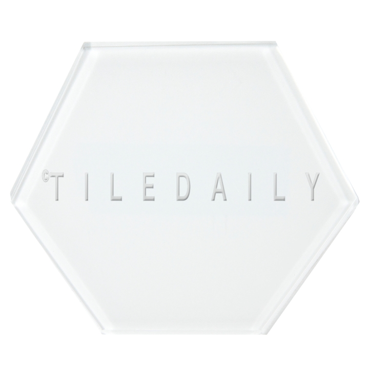 White Mode Hexagon Glass Tile, TileDaily