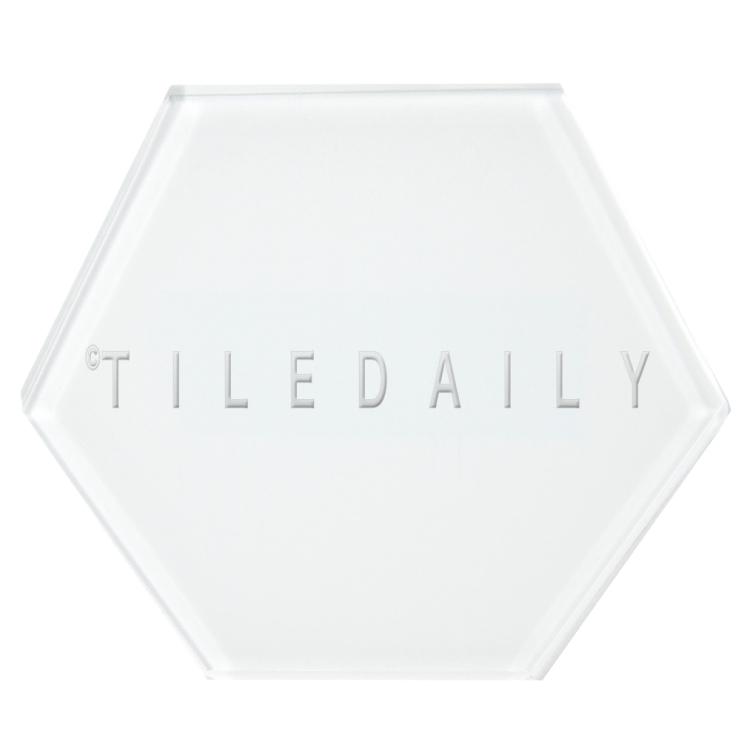 White Mode Hexagon Glass Tile, TileDaily