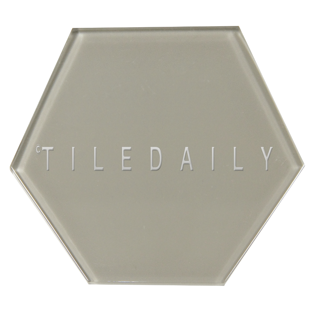 "GM0135GY - 6"" Hexagon Glass Tile, Warm Grey"