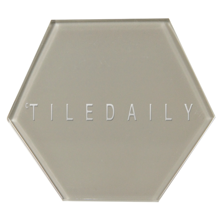 Warm Grey Mode Hexagon Glass Tile, TileDaily