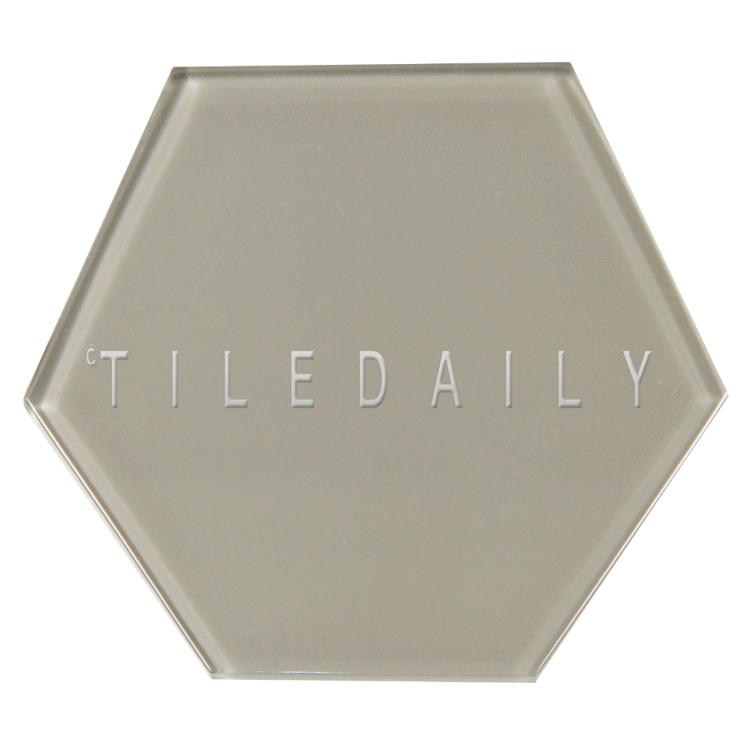 Warm Grey Mode Hexagon Glass Tile, TileDaily