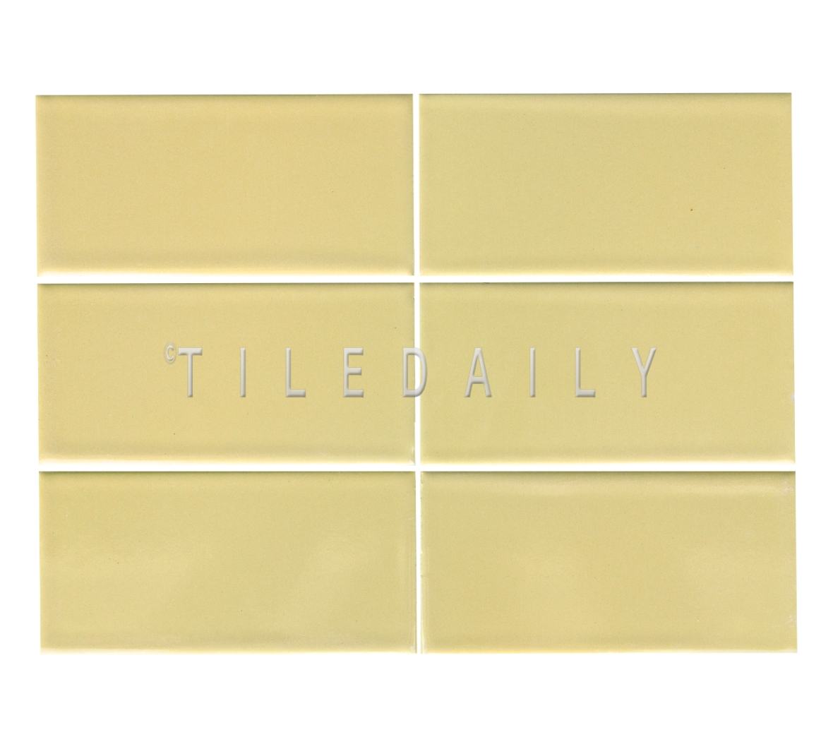3x6 Cottage Series Ceramic Subway Tile, Yellow. Available at TileDaily