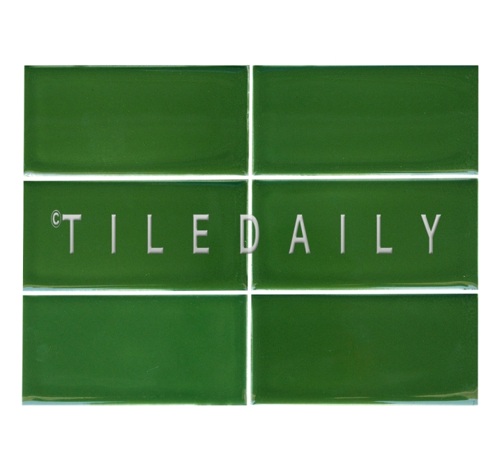 3x6 Cottage Series Ceramic Subway Tile, Kelly Green. Available at TileDaily