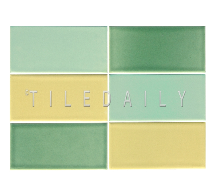 3x6 Cottage Series Ceramic, Mint Green, Apple Green and Yellow. Available at TileDaily