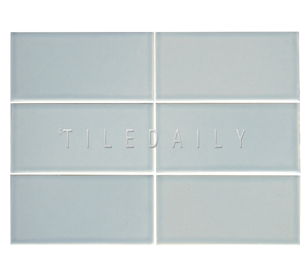 3x6 Cottage Series Ceramic Subway Tile, Ice Blue. Available at TileDaily