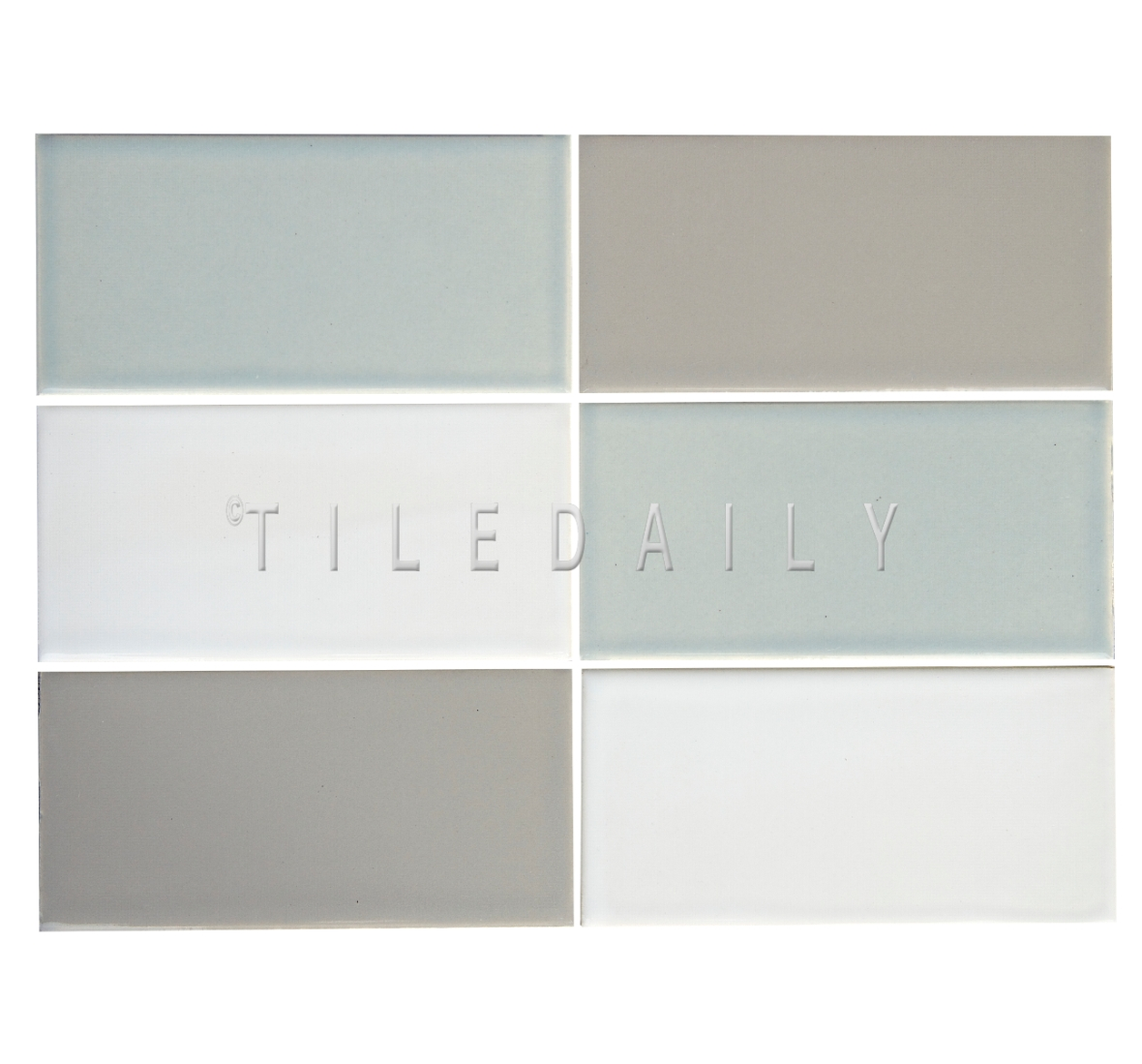 3x6 Cottage Series Ceramic Subway Tile, Ice Blue Gray and White. Available at TileDaily