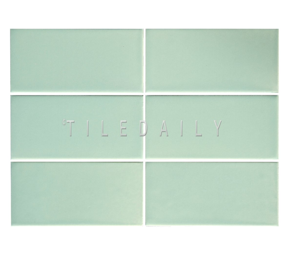 3x6 Cottage Series Ceramic Subway Tile, Mint Green. Available at TileDaily