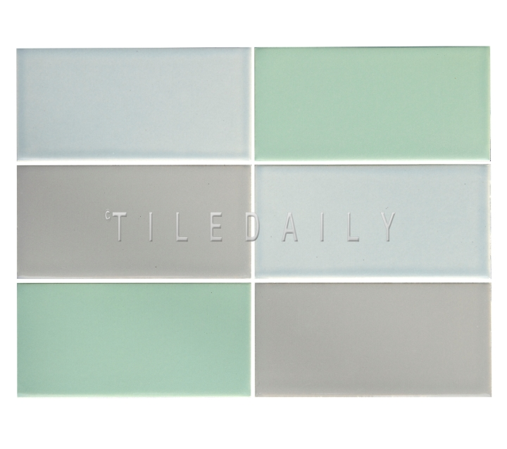 3x6 Cottage Series Ceramic Subway Tile, Mint Green, Ice Blue and Gray. Available at TileDaily