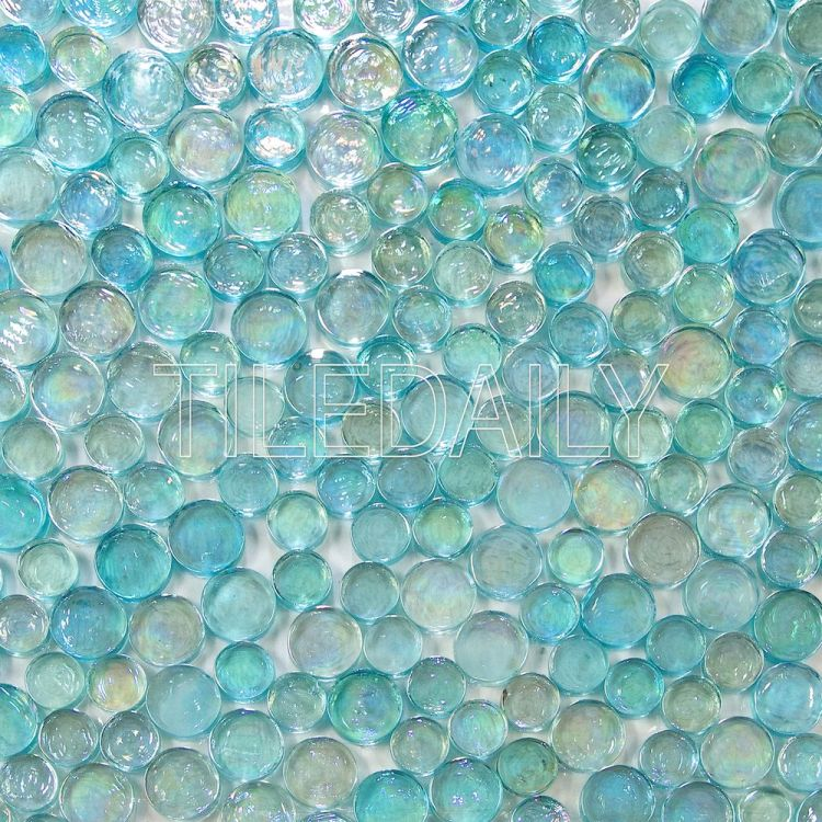 Iridescent Random Penny Round Glass Mosaic Tile at TileDaily