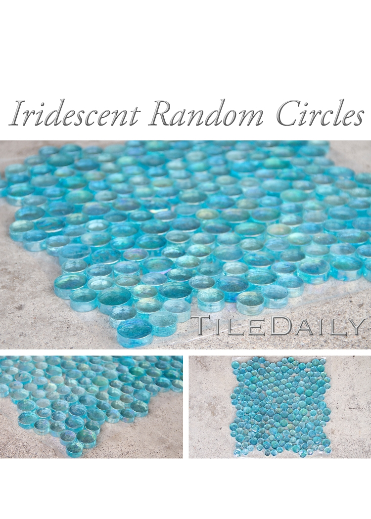 Aqua Blue Iridescent Glass Round Mosaic at TileDaily