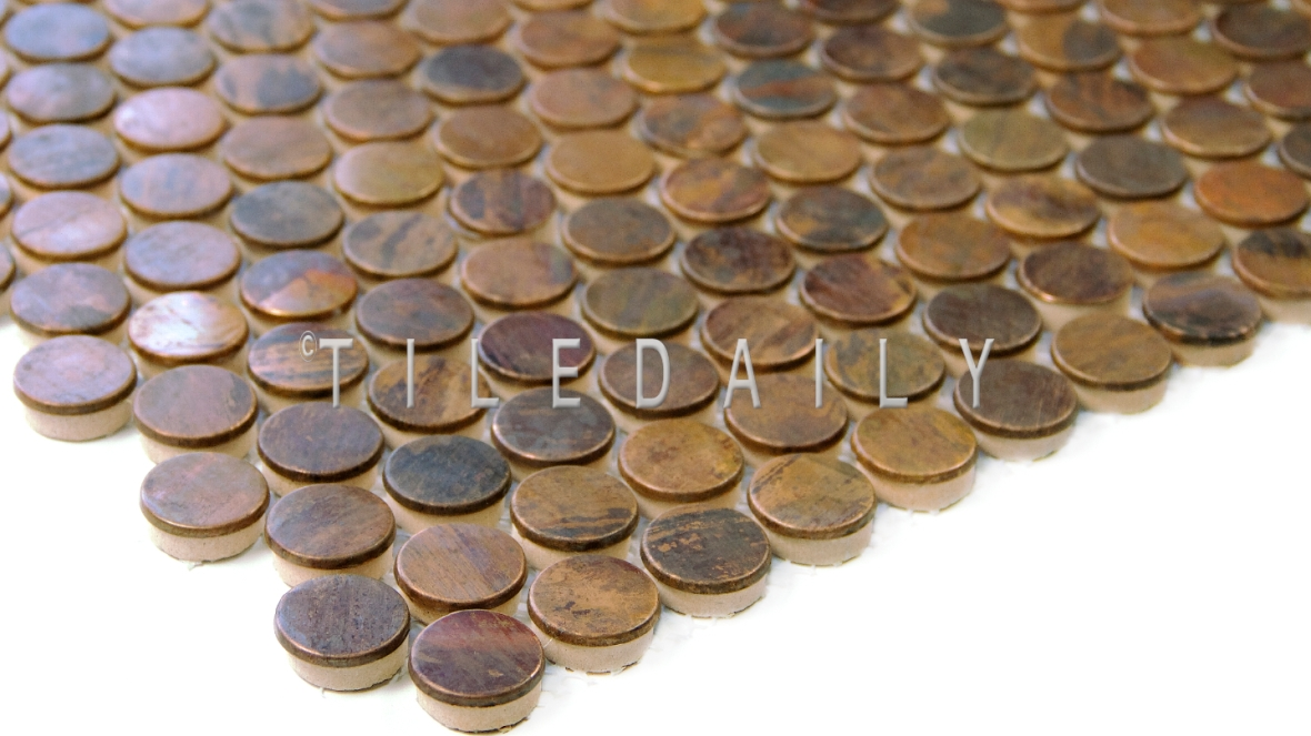 SS0008P - Rust Metal Penny Round Mosaic