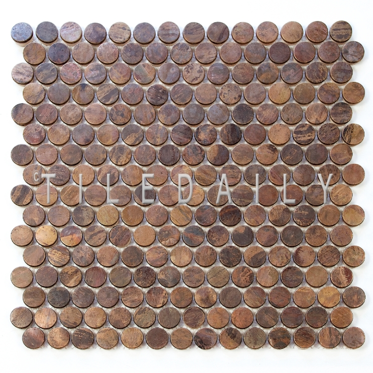 copper bronze metal penny round mosaic wall tile