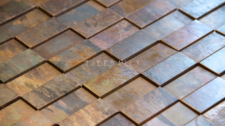 SS0008R - Rust Metal Split Face Mosaic