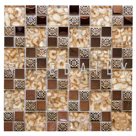 GM0137 - Art Glass Medallion Mosaic Tile, Gold