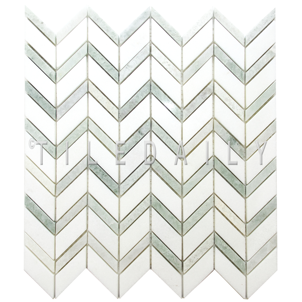 NS0080 - Chevron Marble Mosaic, Mix Green