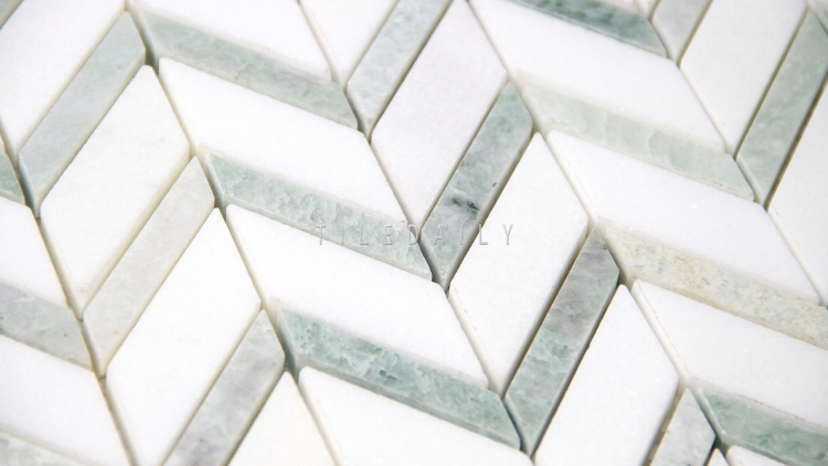 NS0080 - Chevron Marble Mosaic, Mix Green