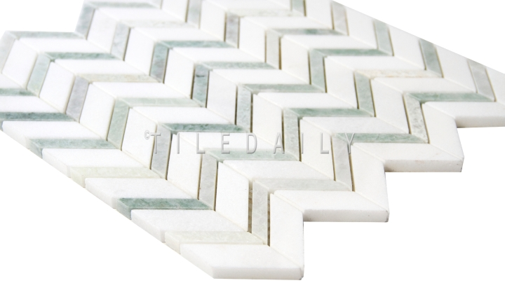 Chevron Mix Green Marble Mosaic