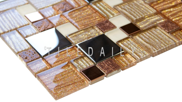 GM0139BN - Glitter Mix Glas Mosaic, Brown